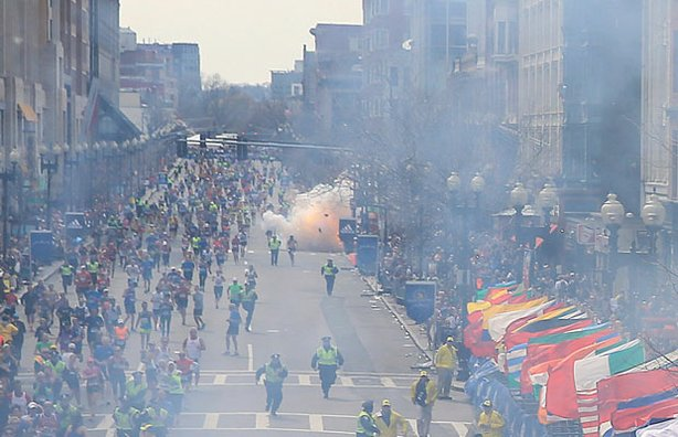 A second explosion goes off near the finish line of the 117th Boston Marathon...
