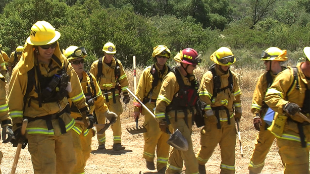Firefighters from around San Diego County teamed up near Barona in San Diego's East County to prepare for a potentially dangerous fire season, May 22, 2013.
