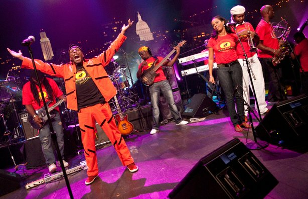Jimmy Cliff and his band.