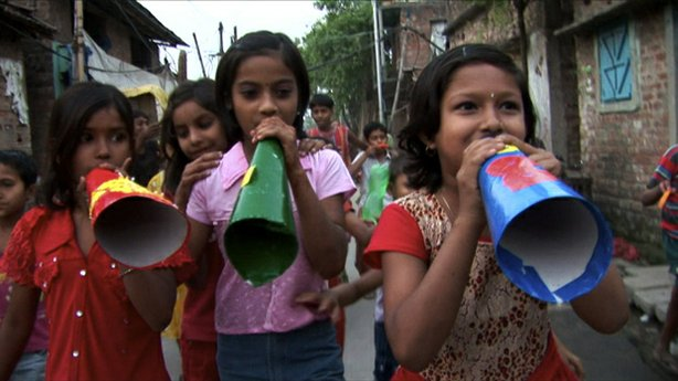Child activists working with Amlan Ganguly, marching through the streets of C...