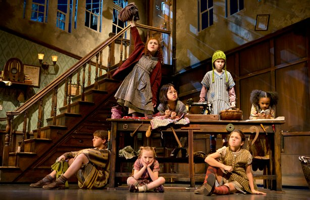 "At front (l-r), Georgi James (Pepper), Emily Rosenfeld (Molly), Madi Rae DiPietro (July). At back (l-r), Lilla Crawford (Annie), Junah Jang (Tessie), Taylor Richarson (Duffy) and Tyrah Skye Odoms (Kate) in ""Annie"" at the Palace Theatre (broadway at 47th Street). ""Annie"" features a book by Thomad Meehan, music by Charles Strouse and lyrics by Martin Charnin. The production in choreographed by Any Blankenbuehler and directed by James Lapine."