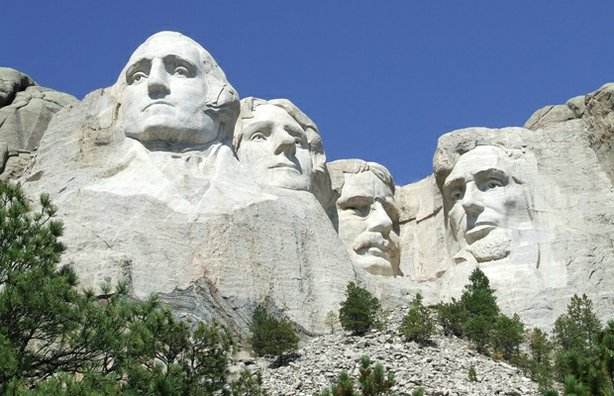 Full view of Mount Rushmore in South Dakota's Black Hills.