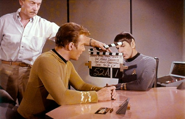 "William Shatner as Kirk and Leonard Nimoy as Spock on ""Star Trek."""