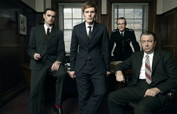 Left to Right: Jack Laskey as DS Peter Jakes, Shaun Evans as Endeavour, Anton...