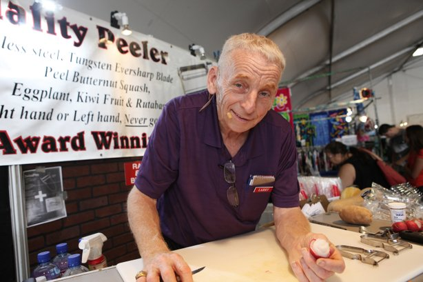 Larry Scheidt is a career salesman. He's been pitching the Swiss Peeler to crowds at the Del Mar Fair for eleven years.