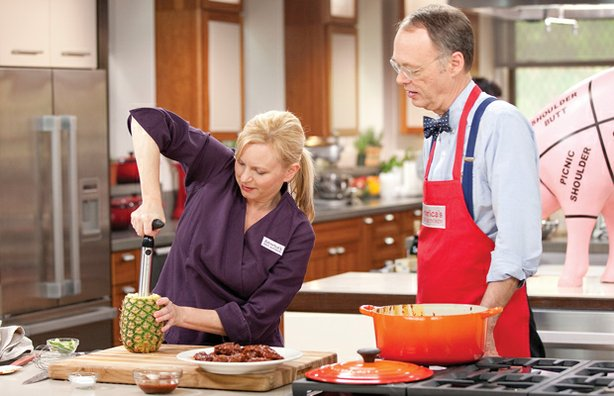 Test kitchen chef Bridget Lancaster cooks with host Christopher Kimball.