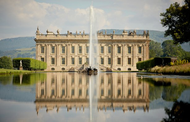Front of Chatsworth house in Derbyshire, home to the Dukes of Devonshire for more than 500 years. Today, the 12th Duke resides over the 175-room mansion and an invaluable art collection.