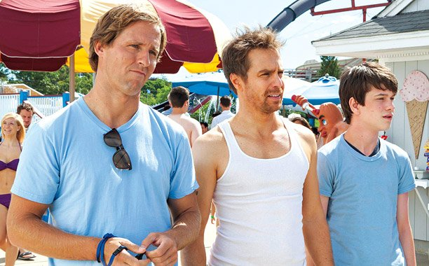 "Nat Faxon, Sam Rockwell, and Liam James star in the coming of age film, ""The Way, Way Back."""