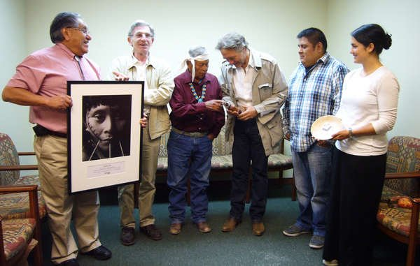 The Hopi Tribe exchanges gifts with Survival International and attorney Pierr...