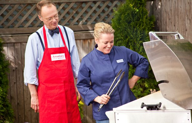 Host Christopher Kimball and test kitchen cook Julia Collin Davison at the grill.