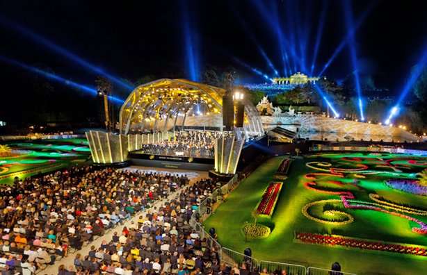 Vienna Philharmonic performs in the magnificent gardens of Austria's Imperial Schönbrunn Palace.