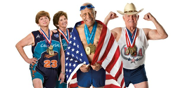 "Promotional photo of senior athletes featured in ""Age Of Champions."" Follow competitors who sprint, leap and swim for gold at the National Senior Olympics."