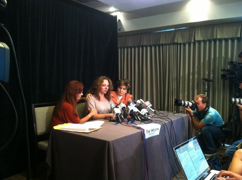 Michelle Tyler, Gloria Allred and Katherine Ragazzino speak at an August 6, 2...