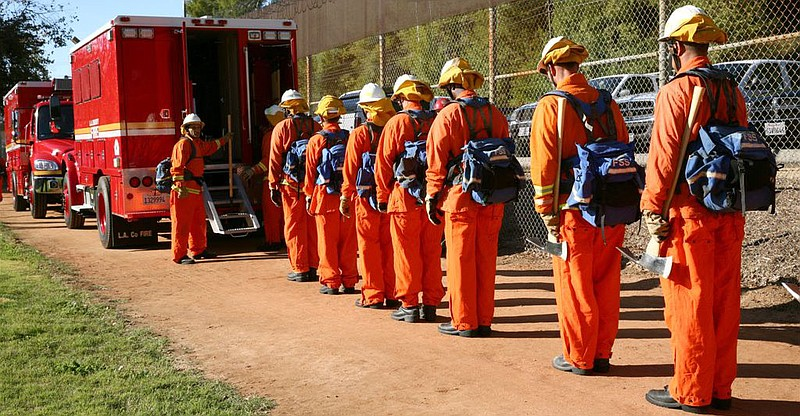 Inmate firefighters train in Los Angeles County.