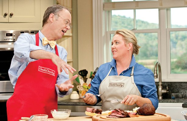 "In the ""Great American Cookout,"" host Christopher Kimball gets test cook Juli..."