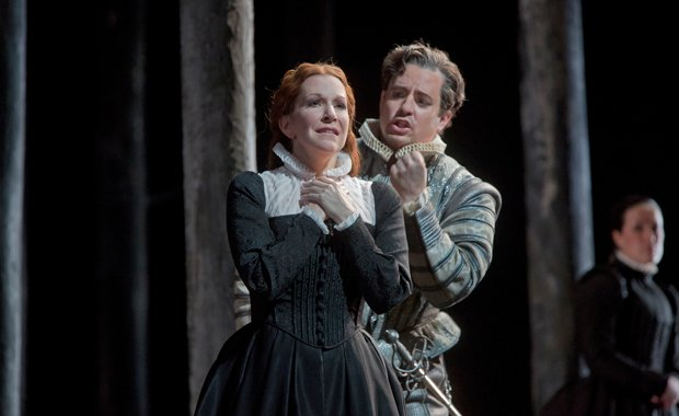 Joyce DiDonato as the title character and Matthew Polenzani as Leicester in D...