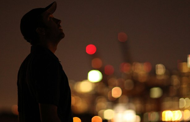 Filmmaker Ian Cheney on a Brooklyn rooftop.