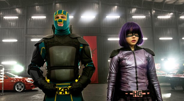 "Kick-Ass (Aaron Taylor-Johnson) and Hit Girl (Chloe Grace Moretz) come out of their teenaged retirement in ""Kick-Ass 2."""