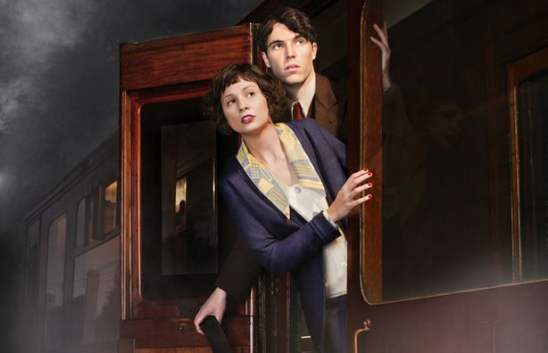"Tuppence Middleton as Iris Carr and Tom Hughes as Max. A young socialite suspects foul play when a woman inexplicably disappears from a train, in a stylish and suspenseful new adaptation of the classic thriller ""The Lady Vanishes."""