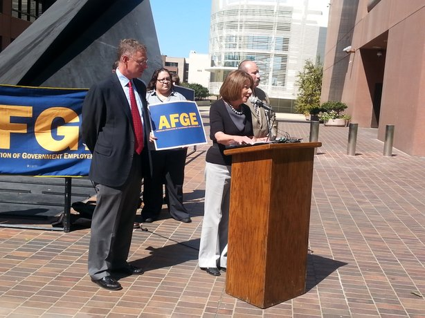 Congressman Scott Peters and Congresswoman Susan Davis talk about the impacts of sequestration at a press conference.