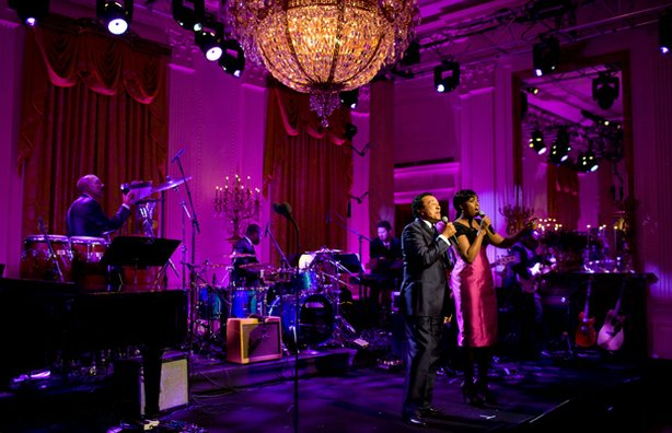 Smokey Robinson and Jennifer Hudson perform in the East Room of the White Hou...