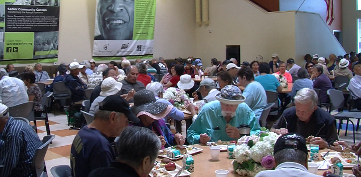 Seniors eat lunch at the Gary and Mary West Senior Wellness Center in downtow...