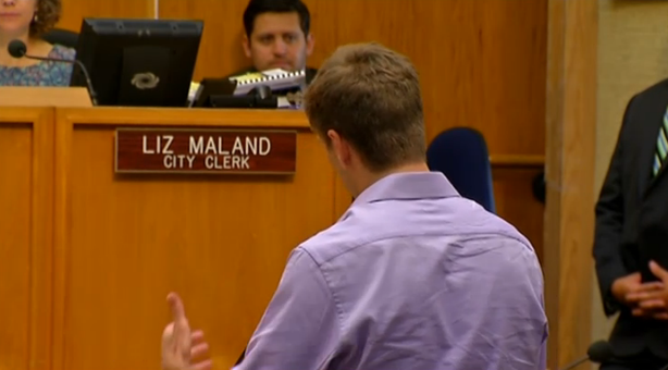 Public speaker Mike Slater speaks to the City Council about their potential deal with Mayor Bob Filner.