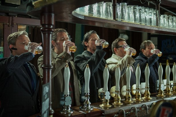 "Martin Freeman, Paddy Considine, Simon Pegg, Nick Frost and Eddie Marsan try to finish a pub crawl they started decades ago when they were 18 in ""The World's End."""