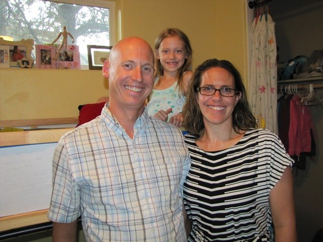 Erika Mazza, Todd and Kaya Van Hoesen are excited to meet the 5-year-old girl...