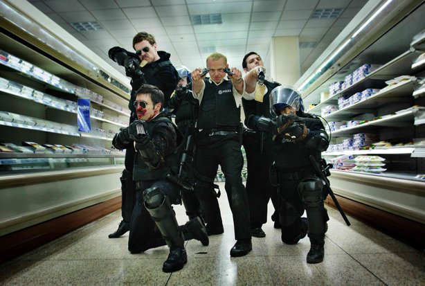 "The cast of ""Hot Fuzz."""