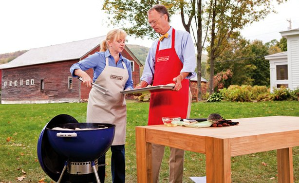 Test cook Bridget Lancaster and host Chris Kimball are grilling in season four of COOK'S COUNTRY FROM AMERICA'S TEST KITCHEN.
