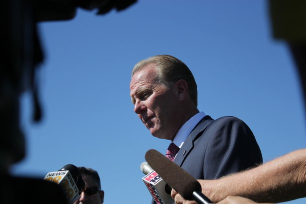 City Councilman Kevin Faulconer speaks with reporters after officially announ...