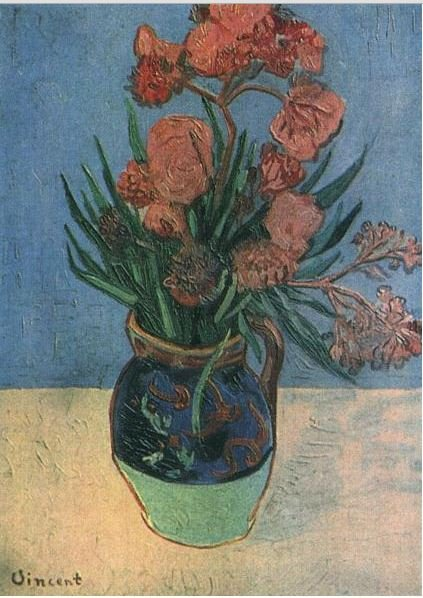 Image of Vincent Van Gogh's Still Life: Vase with Oleanders, made in 1888. The work's location is unknown.