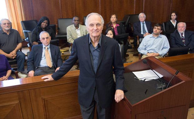 Alan Alda poses in front of the jury, U.S. District Court of Southern Distric...