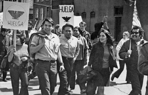 Eliseo Medina (left), and Dolores Huerta at a march, Chicago, Illinois, 1971.