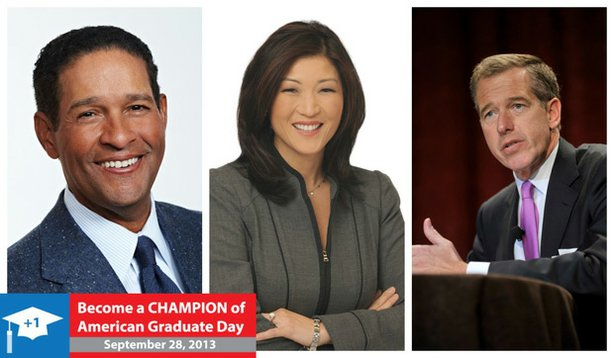 Bryant Gumbel, JuJu Chang and Brian Williams will be among the broadcasters and special guests participating in the live September 28, 2013 American Graduate Day broadcast on PBS stations and online.