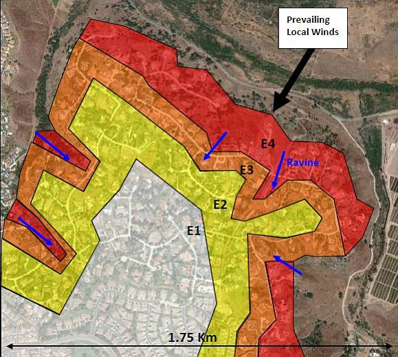 The ember risks shown in this map increase from an E1, no likely exposure, to...