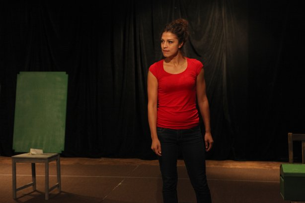 "Actor Iliana Carter rehearses for the one-woman show ""The Amish Project."""