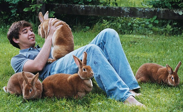 Johnny Haussener with rabbits. In 2005, he was awarded the Pennsylvania State...