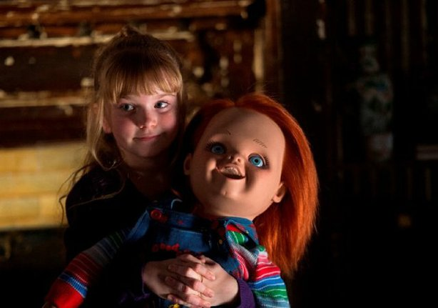 "Summer H. Howell just loves her new doll in ""Curse of Chucky"" coming out on D..."