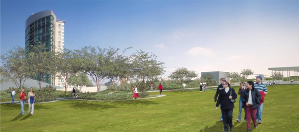 A rendering of the rooftop park on the Convention Center expansion.