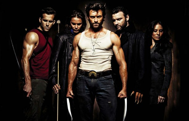 """X-Men Origins: Wolverine,"" (L to R) Ryan Reynolds, Taylor Kitsch, Hugh Jackm..."