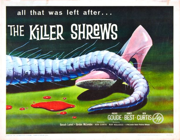 "Poster for ""The Killer Shrews"" (1959) screening this Friday as part of the Ho..."