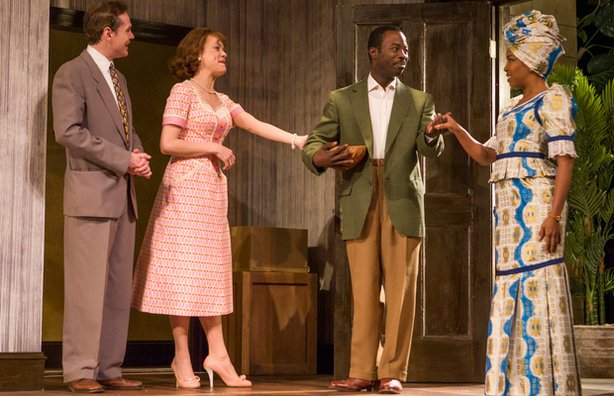 "Jonathan Crombie; Jenna Sokplowski; Charlie Hudson, III; and Jessica Frances Dukes in CENTERSTAGE's production of ""Beneatha's Place"" by Kwame Kwei-Armah, directed by Derrick Sanders."