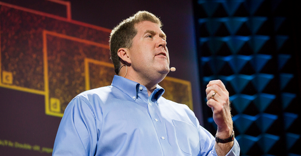 Union College physics professor Chad Orzel speaks to a crowd at a TED Talk in New York City.