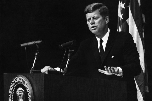 President John F. Kennedy speaks during a press conference.