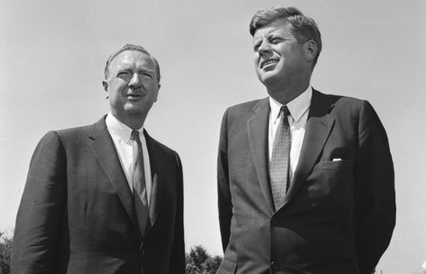 CBS Anchor Walter Cronkite and President John F. Kennedy.