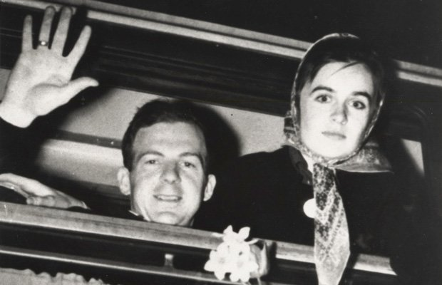 Lee Harvey Oswald and his wife, Marina, leaving Russia.