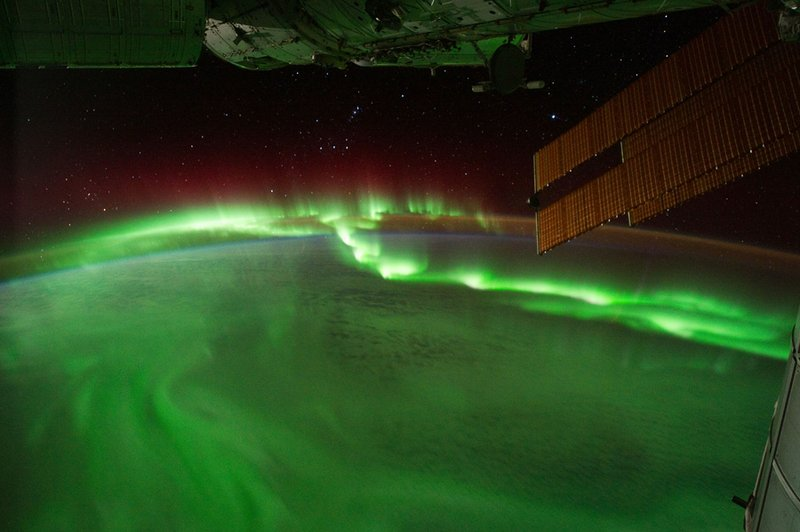 Aurora seen from the ISS, from NASA time-lapse footage.