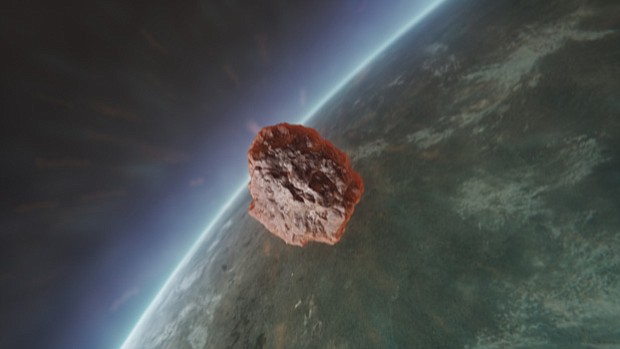 GFX of meteor hurtling towards earth.